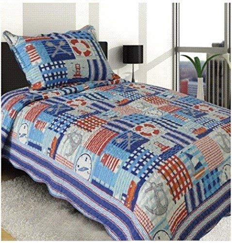 Elegant Home Multicolor Patchwork Blue White Red Nautical Coastal Ships Lighthouse Sailor Anchor Nature Themed Style 2 Piece Coverlet Bedspread Quilt for Kids Teens Boys Twin Size # 93 by Elegant Home Decor