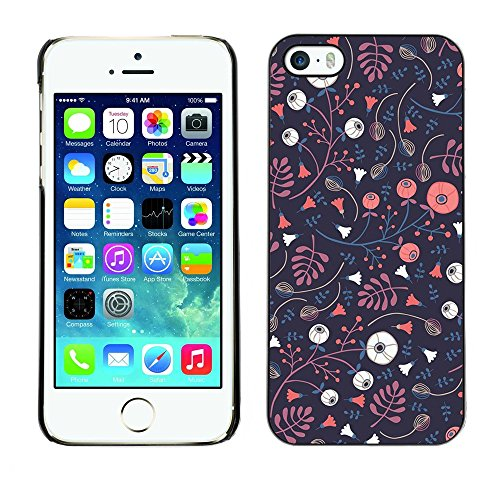 Soft Silicone Rubber Case Hard Cover Protective Accessory Compatible with Apple iPhone? 5 & 5S - wallpaper dark blue pink flowers