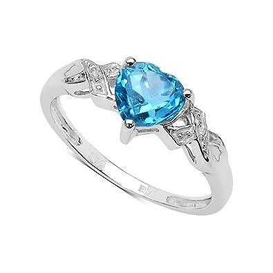 2325d87de2c6 La Colección Anillos Diamantes  Anillo compromiso con corazón de Topacio  6x6mm set de diamantes