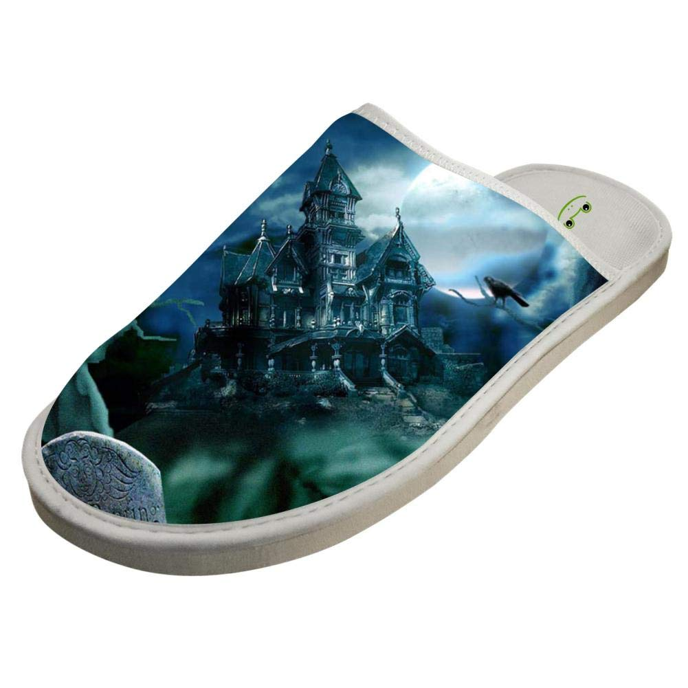 Womens and Mens House Slippers Halloween Creepy House Couple Sandals Closed Toe Indoor//Outdoor Slip on Shoes