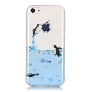 iPhone 5C Case - Slim Fit Crystal Clear Printed Pattern Transparent Flexible Grip Scratch-Proof Applenew2014 Soft TPU Protective Bumper Cover for iPhone 5C (TM-2)
