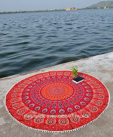 Peacock Mandala Red Tapestry Hippie Indian Round Mandala Tapestry Wall Hanging Beach Throw Rug Boho Yoga (Indian Design Throw Rugs)