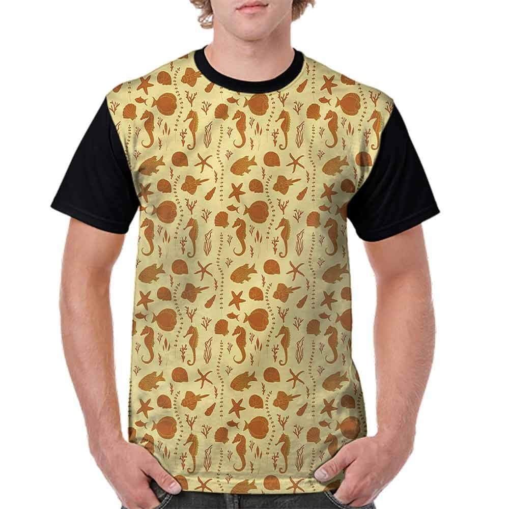 BlountDecor Trend t-Shirt,Fishes Corals Shells Fashion Personality Customization