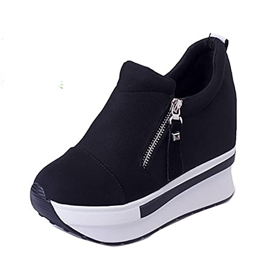 Gaorui Women Anti-Slip Slip On Wedge Sneakers with Zipper Platform Hidden  High Heels Shoes ed7886cadcea