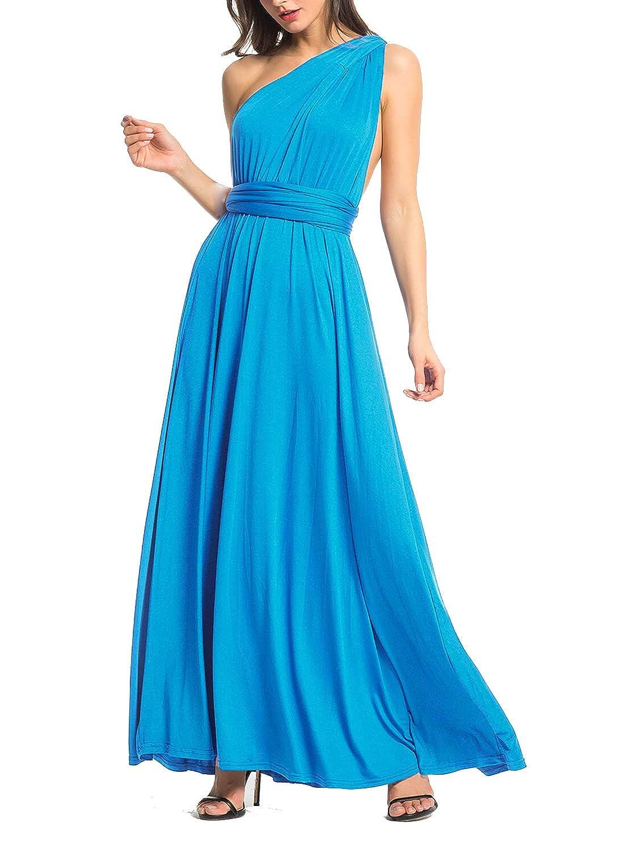 Acid bluee Clothink Women's Congreenible Wrap Multi Way Party Long Maxi Dress