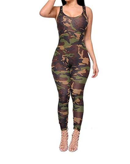 721e11190134c Amazon.com  FCYOSO Women Army Green Camouflage Jumpsuits Rompers  Clothing