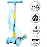 R for Rabbit Road Runner Scooter for Kids Smart Kick Scooter, 3 Adjustable Height, Foldable, LED PU Wheels & Weight Capacity 75 kgs 3 to 14 Years (Blue)
