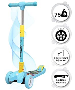 R for Rabbit Road Runner Scooter for Kids of 3 to 14 Years Age 3 Adjustable Height, Foldable, LED…