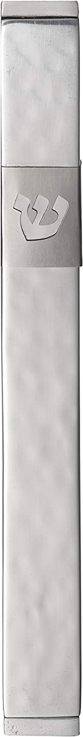 A&S Mezuzot Aluminum Mezuzah Case with Modern Shin Design Waterproof Judaica Door Mezuza for Parchment Scroll Home Blessing Cover(Hammered Silver, 6 Inches)