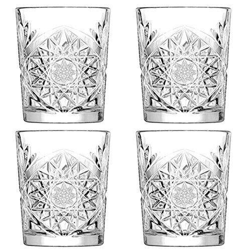 Hobstar Double Old Fashioned Glasses 12oz / 340ml - Set of 4 - Vintage Cut Glass Whisky Tumblers by Libbey ()