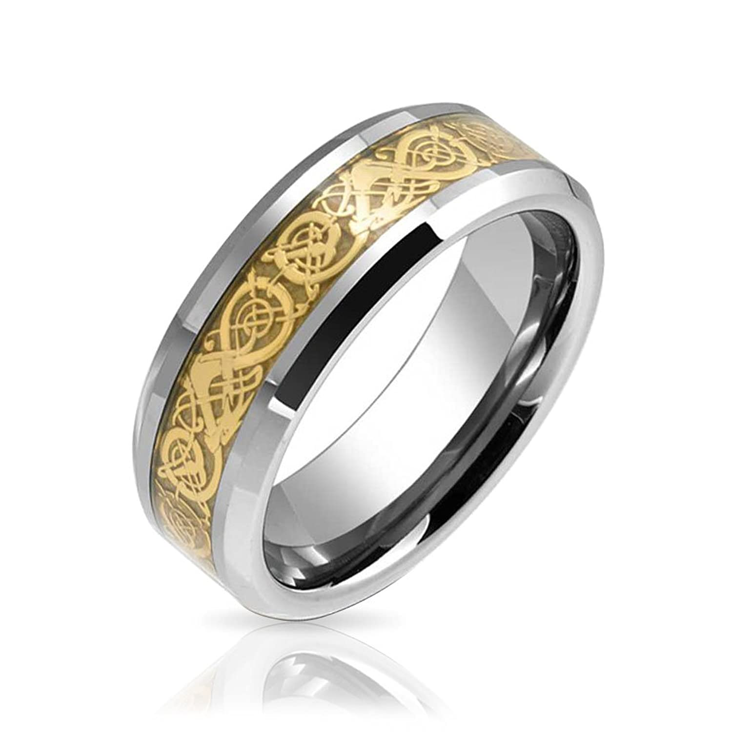 tungsten celtic dragon gold plated inlay flat fit wedding band
