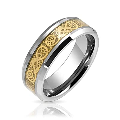Bling Jewelry Tungsten Celtic Dragon Gold Plated Inlay Flat Fit Wedding Band With Free Engraving