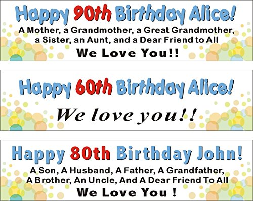 21st Birthday Banners Personalized - Alice Graphics 2ftX8ft Custom Personalized Happy