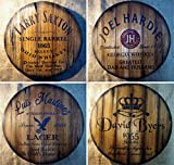 Father's day Personalized Gift   Decor sign inspired by old whiskey and beer barrel tops   Rustic wall decor   Hand-painted artwork on aged wood   Unique gift for dad   Man Cave, Home Bar decoration