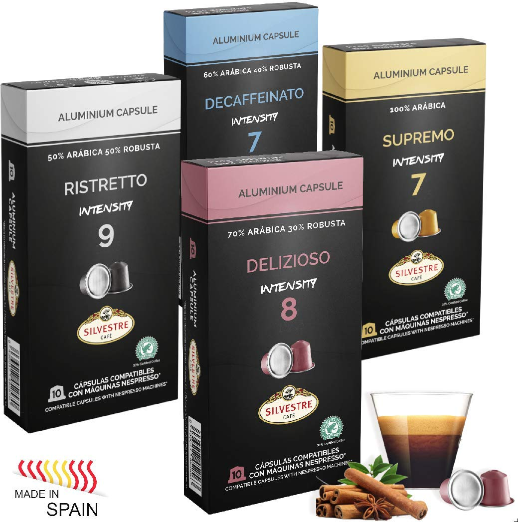 Imported SPANISH Coffee Espresso Compatible Nespresso Machine Aluminum Pods single cup (Variety Pack, 40 Pods): Amazon.com: Grocery & Gourmet Food