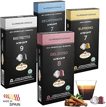 Imported SPANISH Coffee Espresso Compatible Nespresso Machine Aluminum Pods single cup (Variety Pack, 40