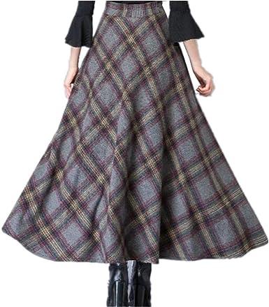 BININBOX - Falda larga de lana para mujer Gris gris oscuro 36 ...