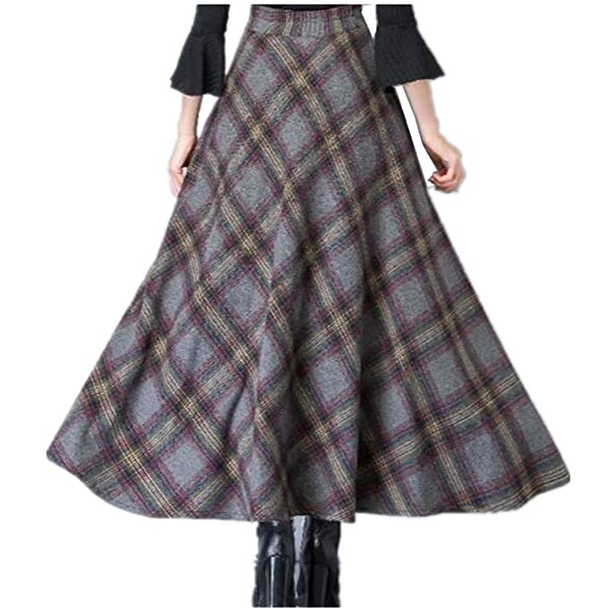 b1310096f9 BININBOX Women's Wool Maxi Skirt A-Line Thick Vintage Plaid Pleated Skirt  Autumn Winter Long Skirts at Amazon Women's Clothing store: