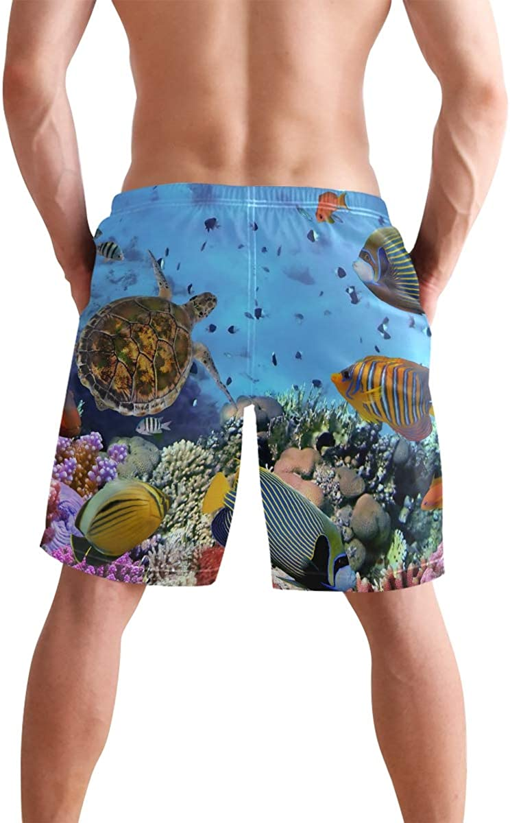 Sea Turtle Mens Quick Dry Beach Shorts Casual Shorts Breathable Swim Trunks Board Shorts Pants