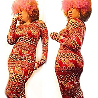 Elevin(TM)Women Skintight Casual Traditional African Print