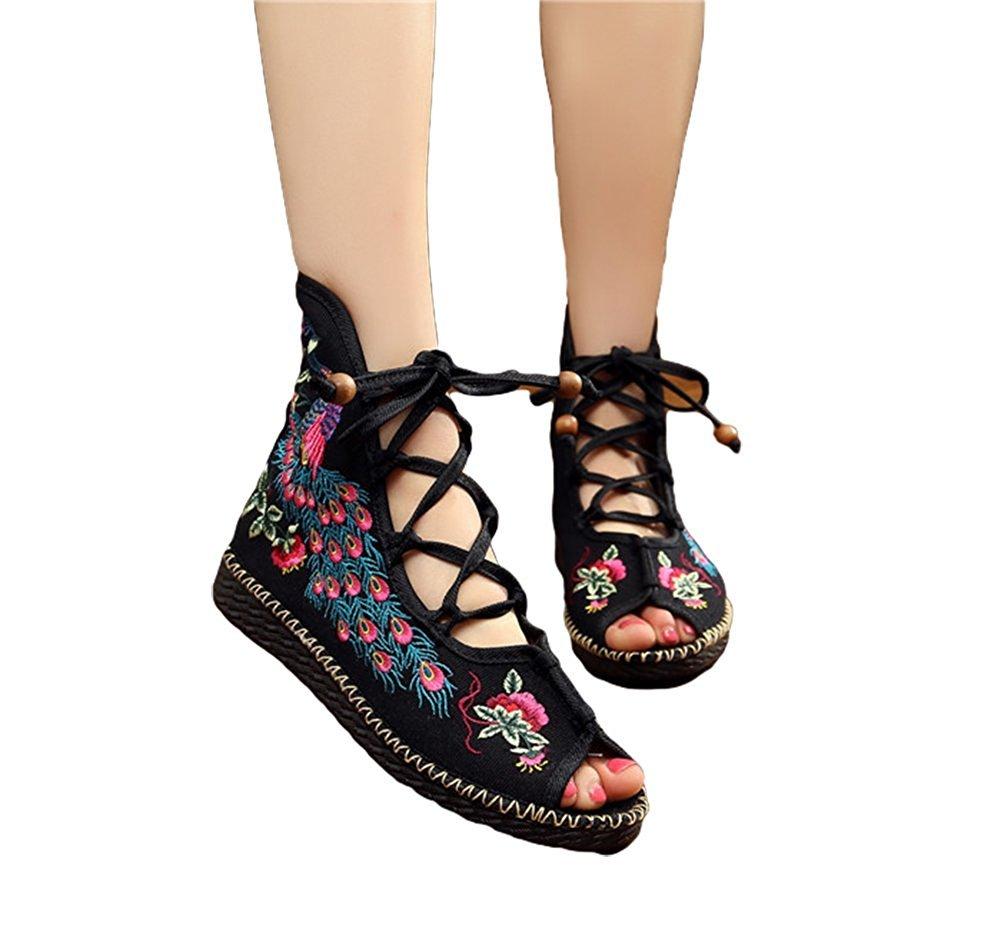 Kool Classic Women's Embroidery Open Toe Lace-up Gladiator Roman Flats Sandal B06XW3B7ZQ 37 M EU=7 B(M) US|Peacock Black