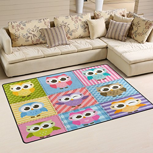 (WOZO Colorful Funny Owl Plaid Area Rug Rugs Non-Slip Floor Mat Doormats Living Room Bedroom 60 x 39 inches)