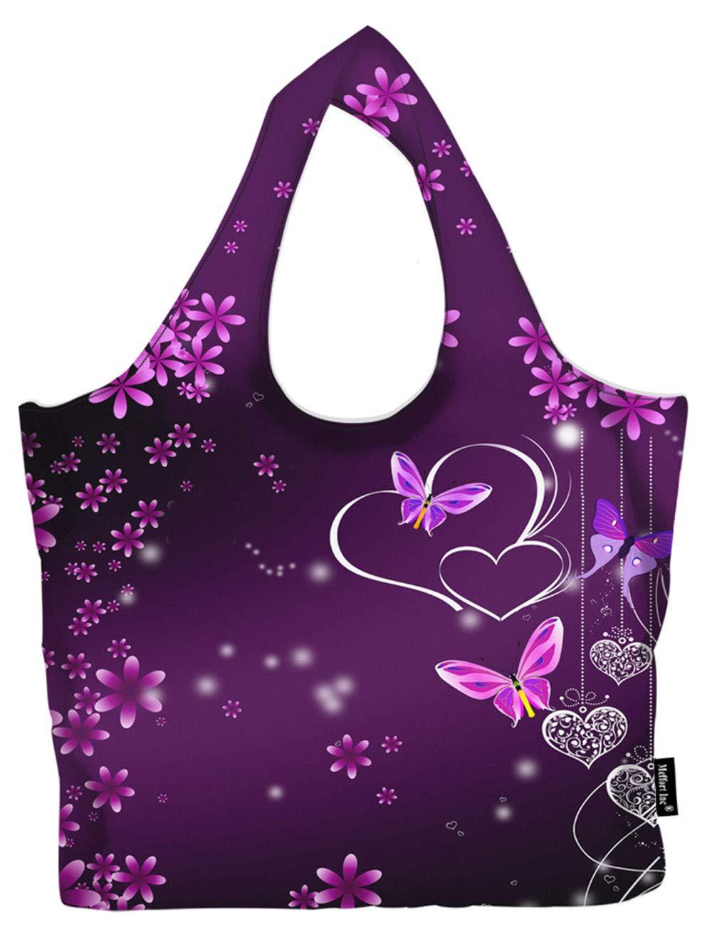 防水折りたたみ式大型買い物バッグ 再利用可能 軽量 環境に優しいトートバッグ GFB_A B07RKDHVPC Purple Heart Butterflies