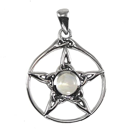 Sterling Silver Wiccan Triquetra Pentacle Pendant with Natural Rainbow Moonstone