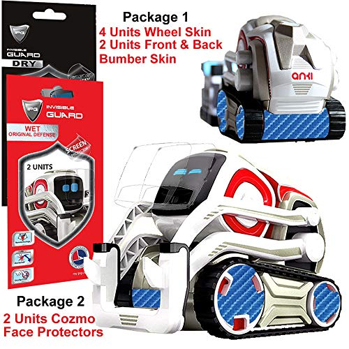 IPG for Cozmo Robot Face Screen Guard KIT Excellent Protector from Unexpected Attacks of Kids and Pets. Include Wheels & Bumpers Decoration Set (Blue Carbon Fiber (4D))