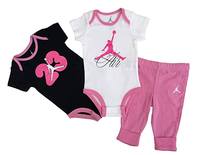 20cbd0447116 Amazon.com  Nike Jordan New Born Baby Girl Bodysuit and Pants 3 Pcs ...