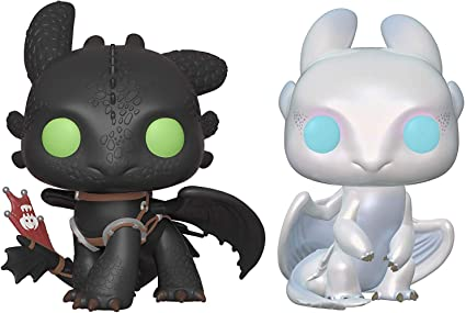 Amazon Com Pop Movies How To Train Your Dragon Toothless And Light Fury Vinyl Figures Set Toys Games