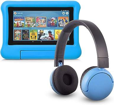 Fire 7 Kids Edition Tablet 16 Gb Blaue Kindgerechte Hülle Mit Poptime Bluetooth Headset Altersklasse 8 15 Jahre Amazon Devices