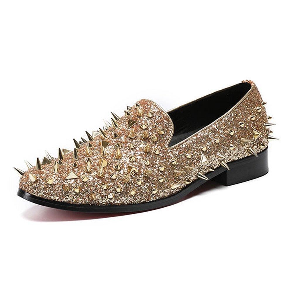 MSFS Zapatos De Hombre Lentejuelas Remachadas Show De Loafer Dress Rock Banquete De Bodas Baile Tamaño 38 A 46,Gold,EU45 EU45|Gold