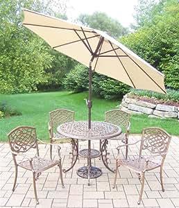 Oakland Living Mississippi 7piezas Comedor con aplanadora de mesa, 4sillas apilables, todos aluminio fundido. 9-Feet inclinación y manivela paraguas y soporte