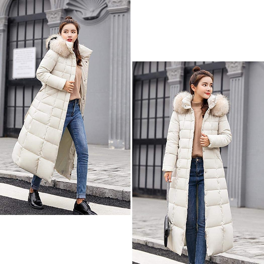 ThinIce Women Removable Faux Fur Hooded Fluffy Thicken Long Down Winter Coats
