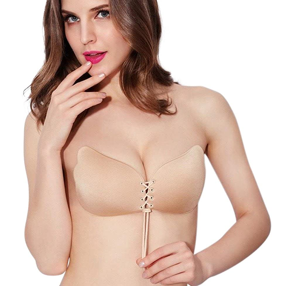 ea82db5e3 Holly O Oolala Nude Self Adhesive Ultra-Lite Invisible Backless Push-up Bra  at Amazon Women s Clothing store