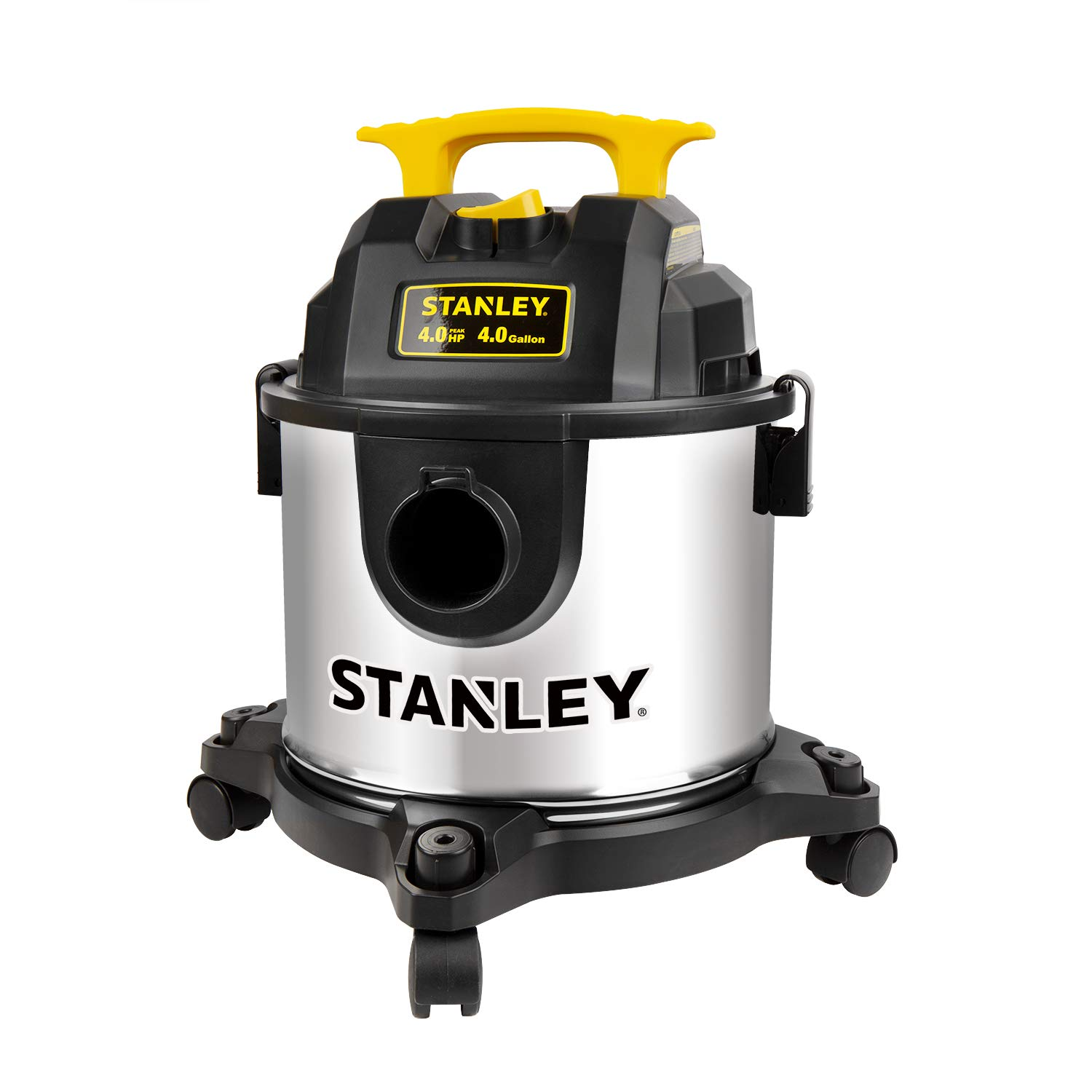 Stanley 4 Gallon Wet Dry Vacuum, 4 Peak HP Stainless Steel 3 in 1 Shop Vac Blower with Powerful Suction, Multifunctional Shop Vacuum W/ 4 Horsepower Motor for Job Site,Garage,Basement,Van,Workshop