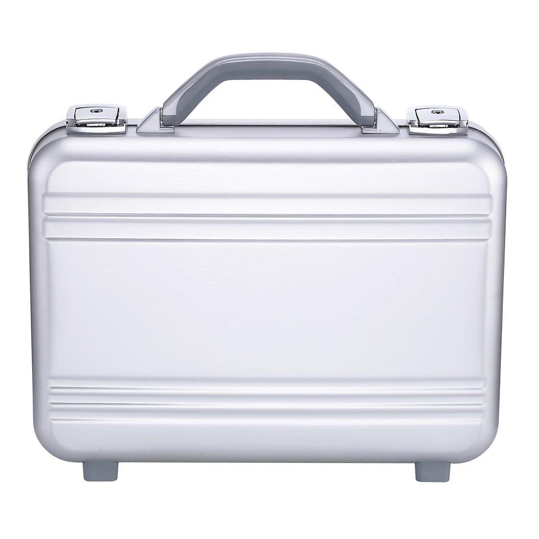 Attache case Metal Aluminum for men women Business foam gun tool writing Organizer Laptop Briefcase small larger silver(Silver, 14.6X10.6X3.7 Inch)