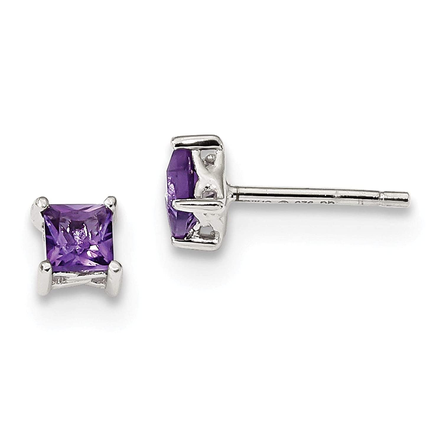 925 Sterling Silver Polished 4mm Square Amethyst February Stone Stud Post Earrings