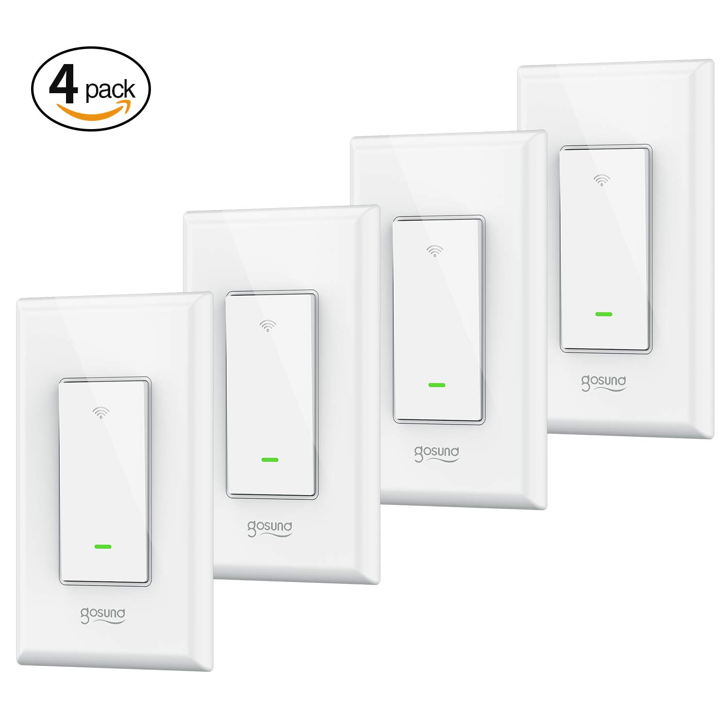 Smart Wi-Fi Light Switch, TanTan 15A In-wall Smart Switch that Compatible with Alexa, Google Home and IFTTT, Single-Pole, No Hub required [Timer, Scene, Group Control], ETL and FCC listed. (4 pack)