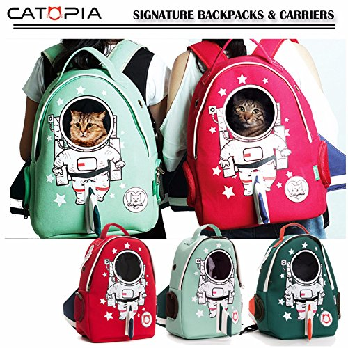 Catopia Premium Cat Smile Face Astronaut Character Backpack Shoulder Hand Bag Travel Carrier for Pet Kitty, Cats, Dogs, Animal, Happiness, Lifestyle
