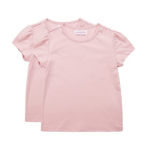 54642d13cc UNACOO Toddler Girls' Round Neck Basic T-Shirt Classic Short Sleeve Jersey  Tee Packs