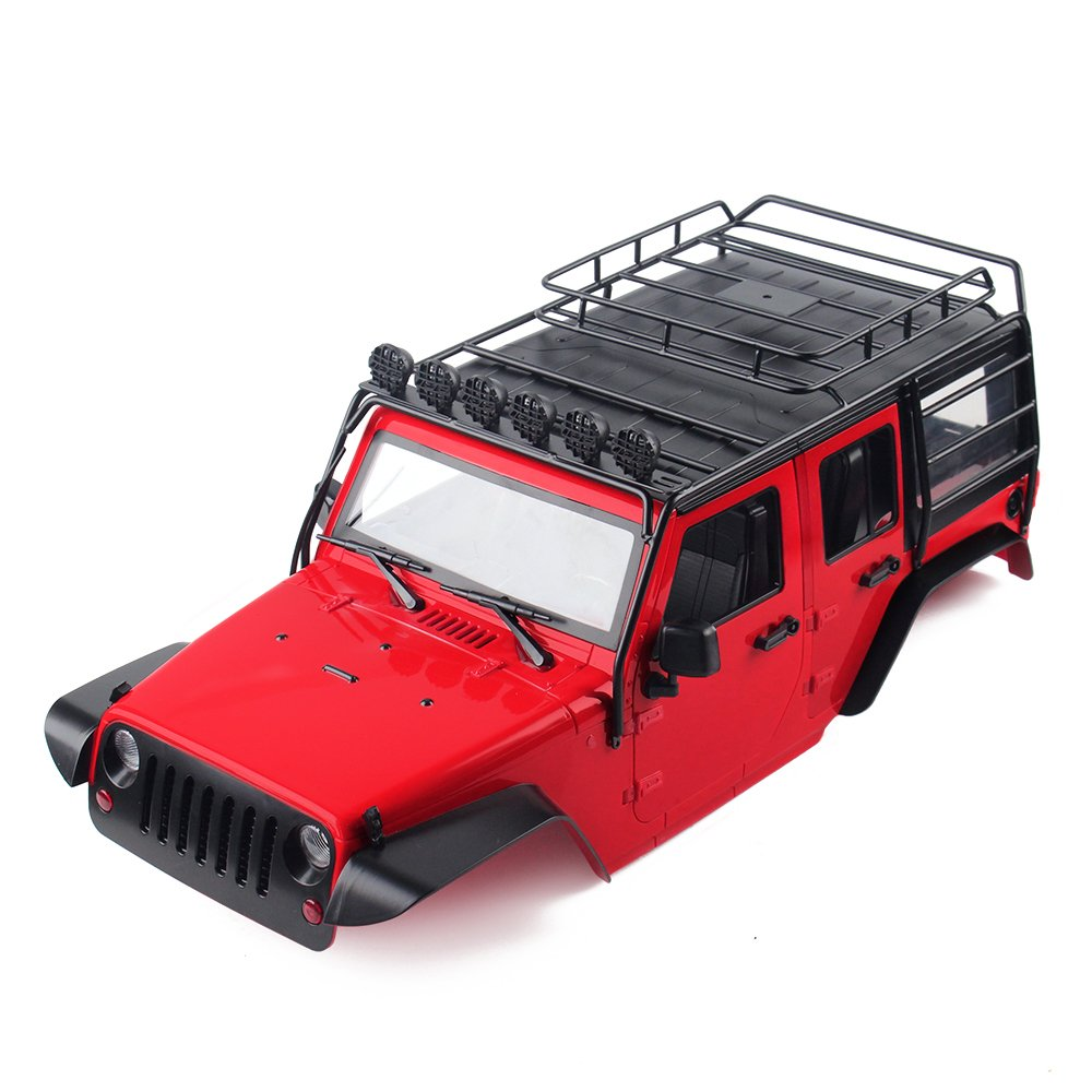 Rouge  INJORA RC voiturerosserie KIT 313mm EmpatteHommest Corps Coquille Jeep Wrangler Rubicon voiture Shell with Metal Roof Rack pour 1 10 RC Crawler Axial SCX10 90046 (Rouge)