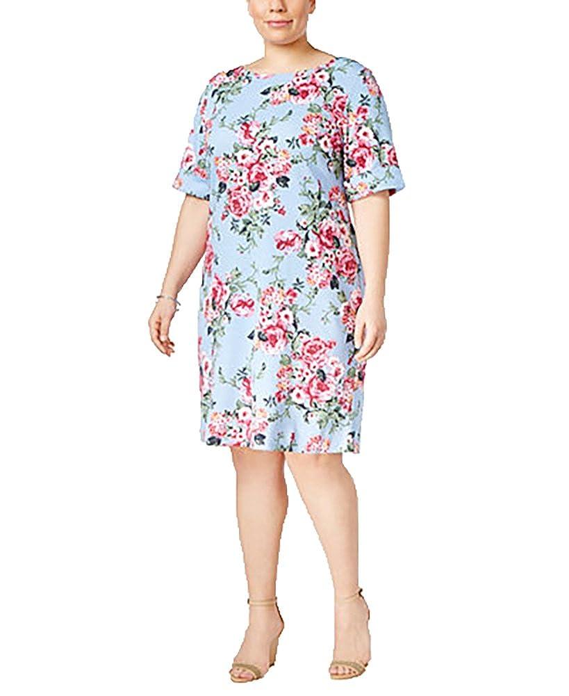 Karen Scott Womens Plus Floral Boat Neck T Shirt Dress Blue 1x At
