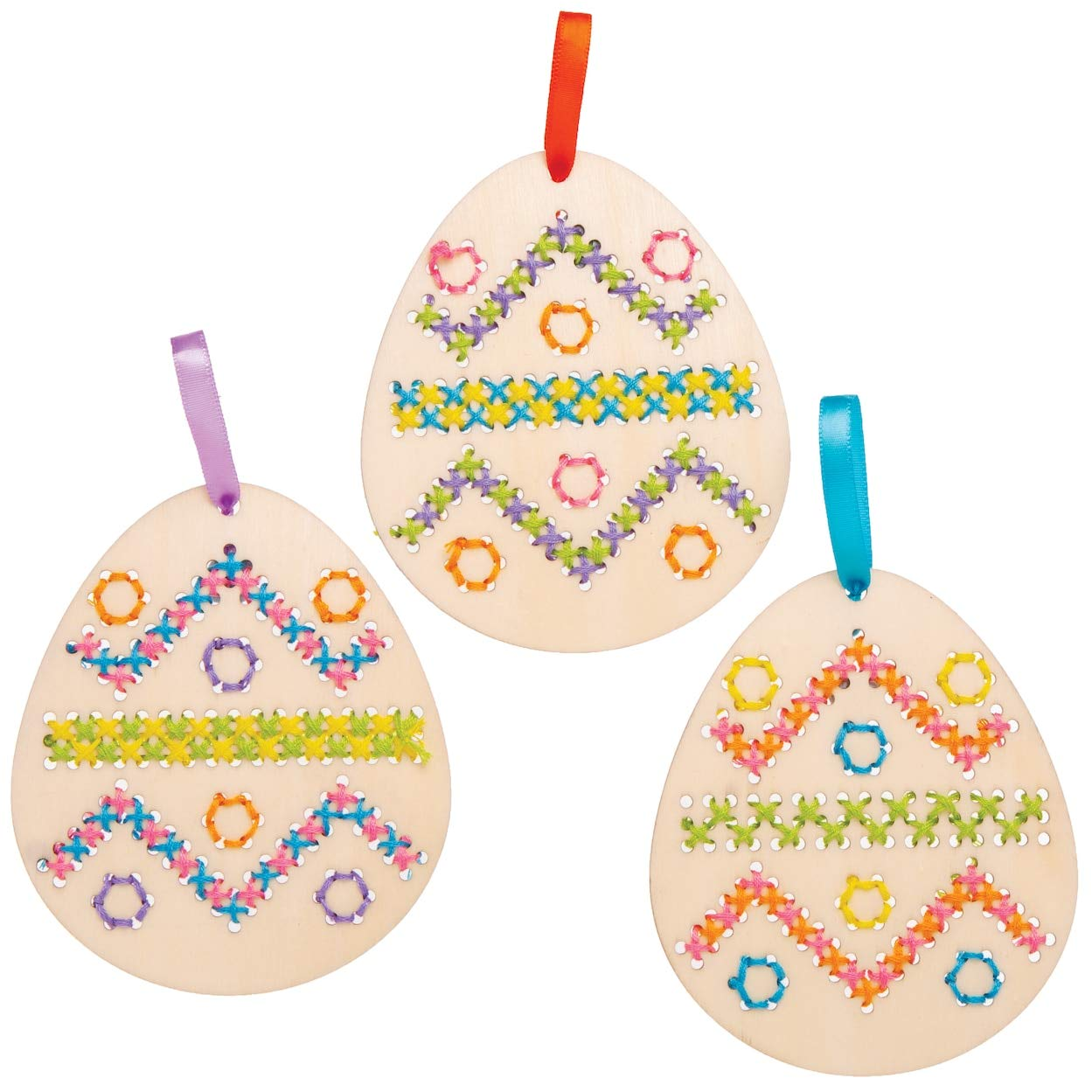 Baker Ross Easter Egg Wooden Cross Stitch Decoration Kits Keepsakes and More 5 Pack Ideal for Kids Arts and Craft Project Gifts Educational Toys