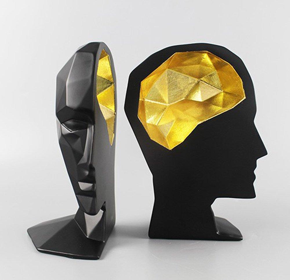 YOURNELO Creative Polyresin Geometric Human Head Nonskid Bookends (Black)