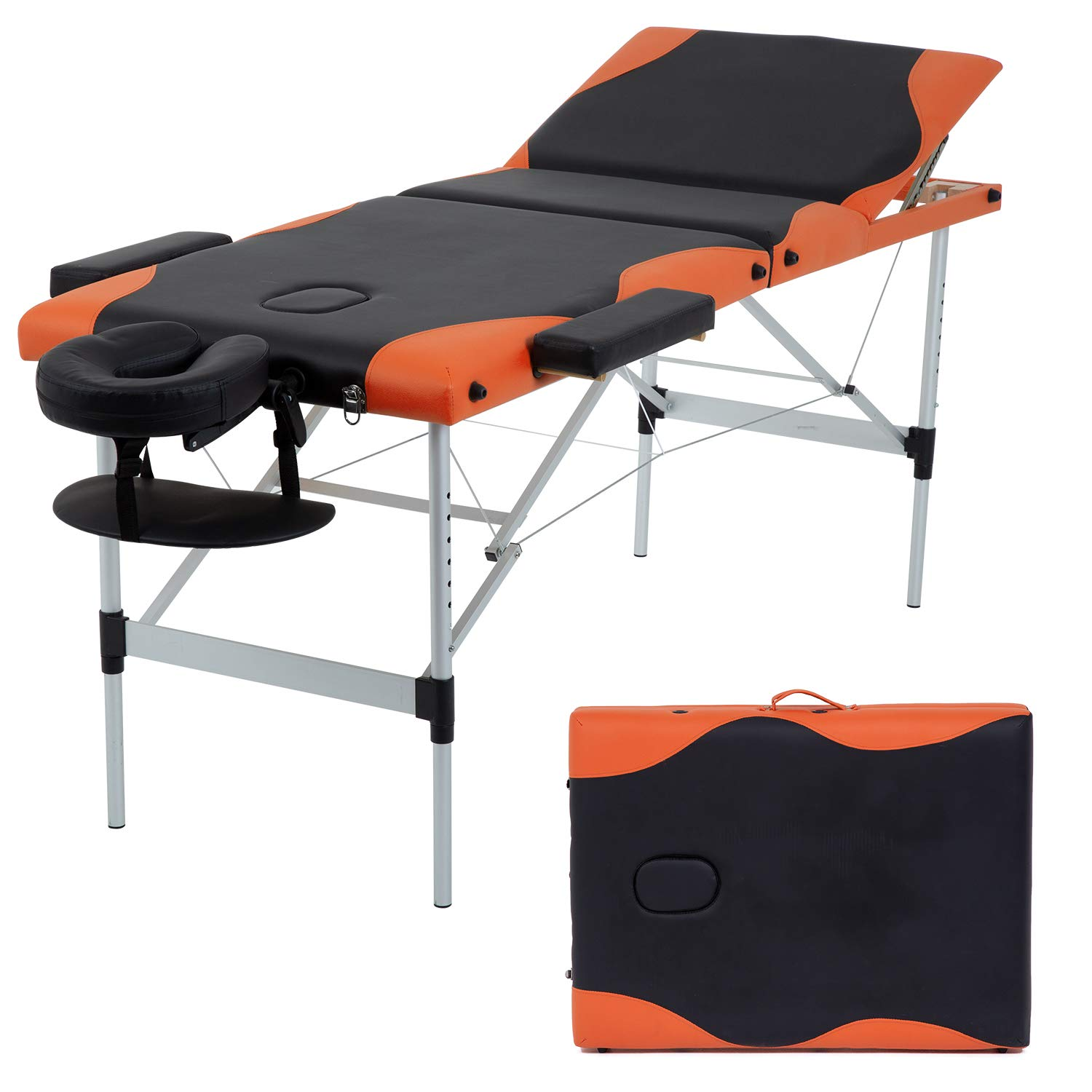 Massage Table Massage Bed Spa Bed 73 Inch Massage Table W/Face Cradle Carry Case Height Adjustable 2 Fold Portable Aluminum Facial Salon Tattoo Bed