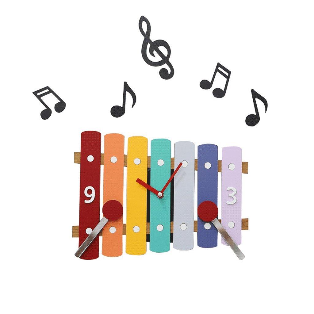 Unbekannt Wanduhr für Kinder Stumm Musik Farbe Wanddekoration Ornamente Mode Nordischen Stil Schlafzimmer Kinderzimmer Kindergarten Continental Haushalt 30 * 22 cm UOMUN