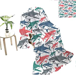 jecycleus Shark Commercial Grade Printed Blanket Mix of Colorful Bull Shark Family Pattern Masters Survival Predators Dangerous Nature Queen King W70 x L70 Inch Multicolor