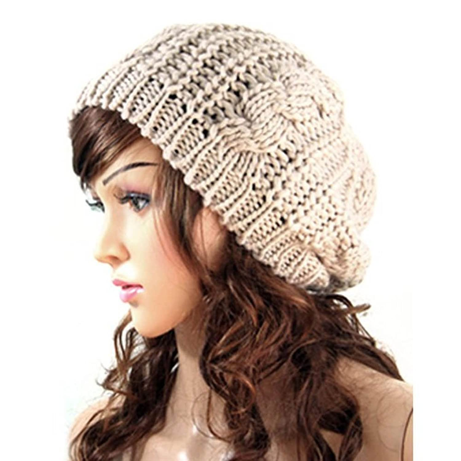 207942c35d844 YJWAN Women Ladies Baggy Beret Chunky Knit Knitted Braided Beanie Hat Ski  Cap at Amazon Women s Clothing store